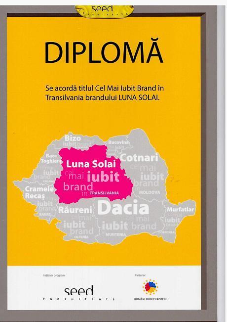 Diploma cel mai iubit brand