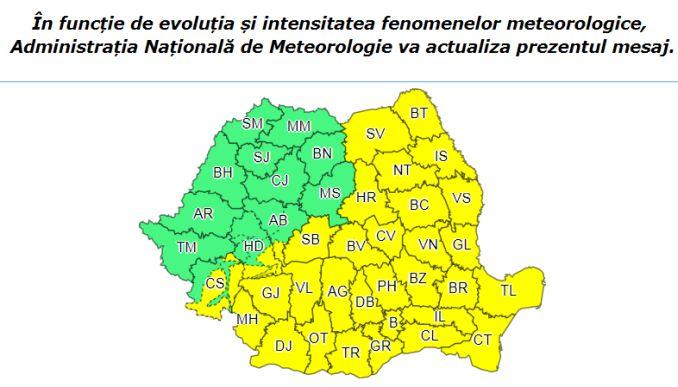 Harta Romaniei Cod Galben 18 noiembrie ANM