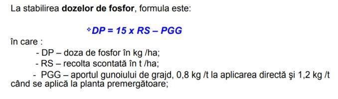 Formula calcul fertilizare fosfor grau