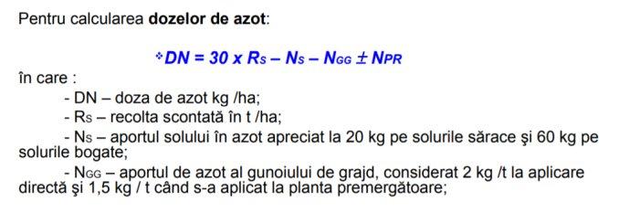 Formula de calcul fertilizare azot grau